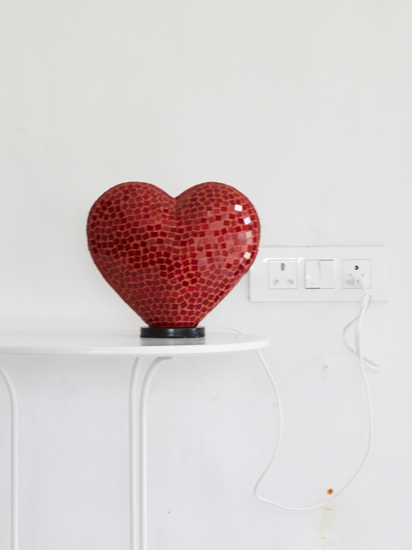 Red Heart Mosaic Lamp