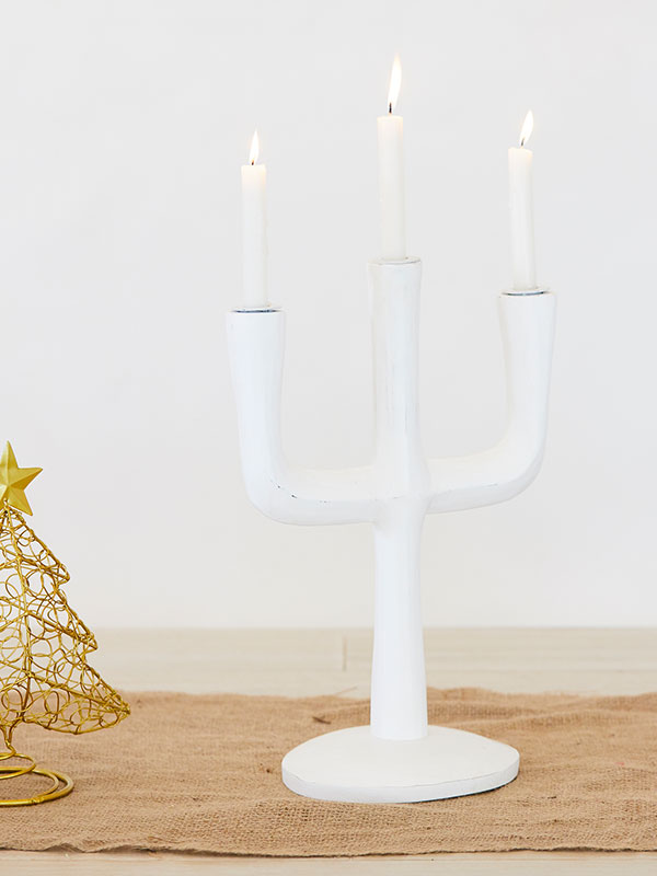 White Cacti Candle Stand