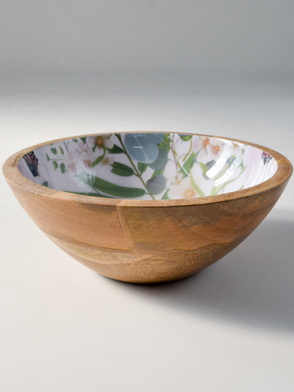 Emily Mango Wood Bowl With Floral Pattern