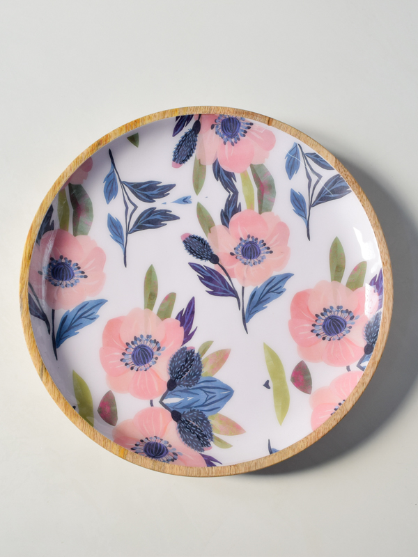 Sienna Mango Wood Platter with Floral Pattern