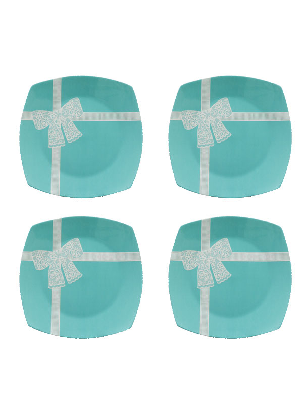 Bowed Square Quarter Plate, Tiffany Series (Set of 4)