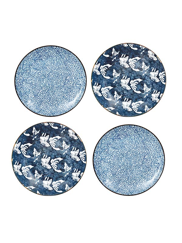 Crackled Blue Plate (Set of 4)