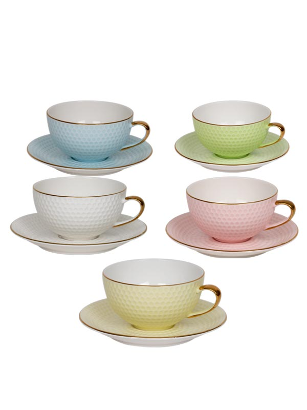 Dainty Pastel Teacup and Saucer Set (Set of 6)