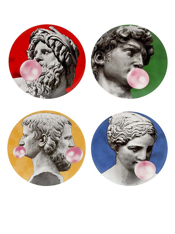 Greek Bubble Series Wall Plate (Set of 4)