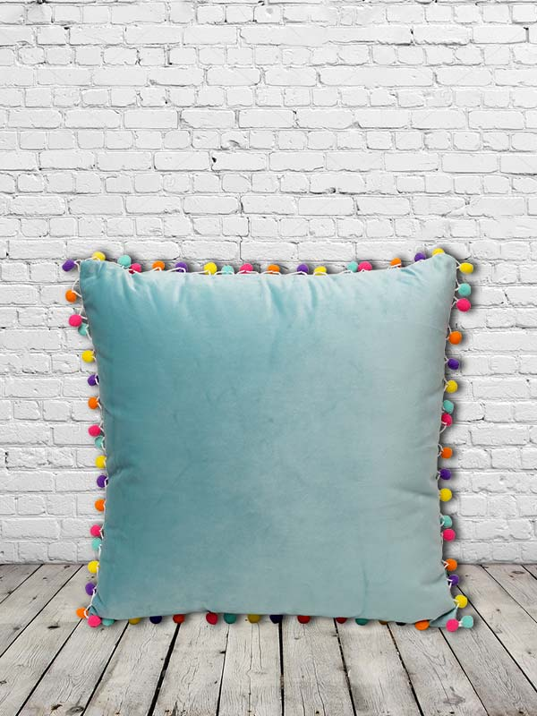 Pom Pom Cushion (Blue) (Set of 2)