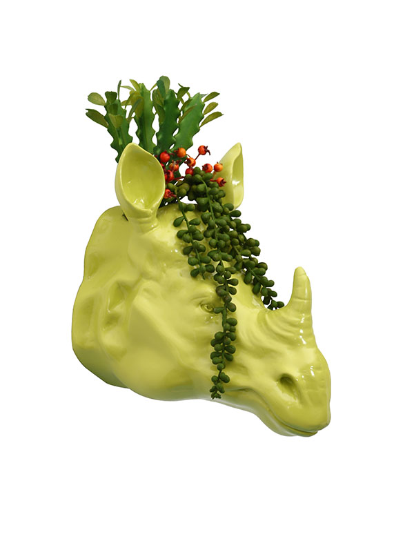 Rhino Head Planter