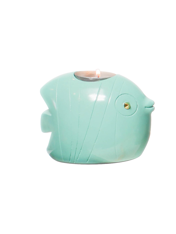 Fish Tea Light Holder (Aqua)