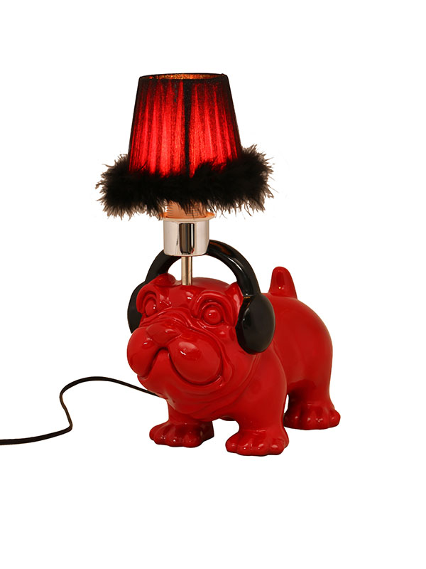 Pug With Headphones Lamp