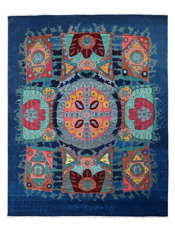 Psychedelic Persian Knotted Rug