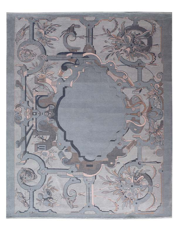 Rococo Persian Knotted Rug