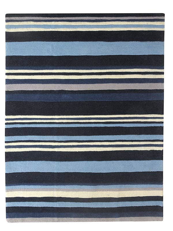 Navy Grey Stripes Rug