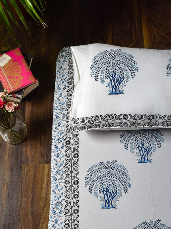 Blue Tree of Life Hand Block Print Cotton Bed Sheet