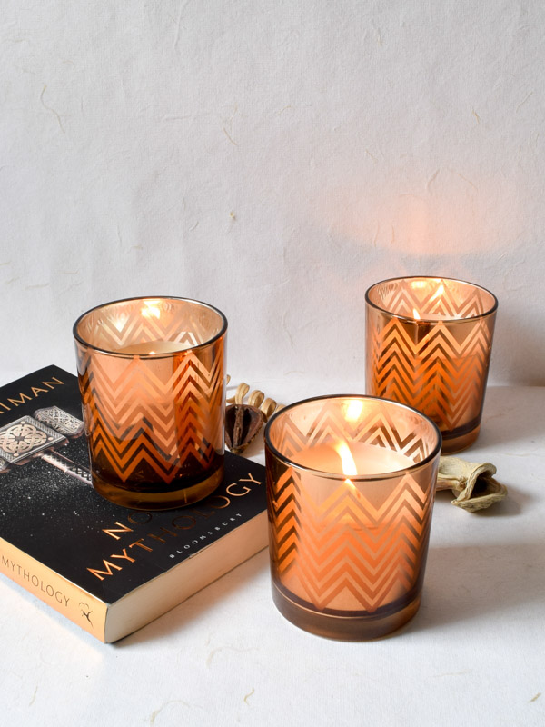 Clarisse Chevron Pattern Copper Gold Candles Large (Set of 3)