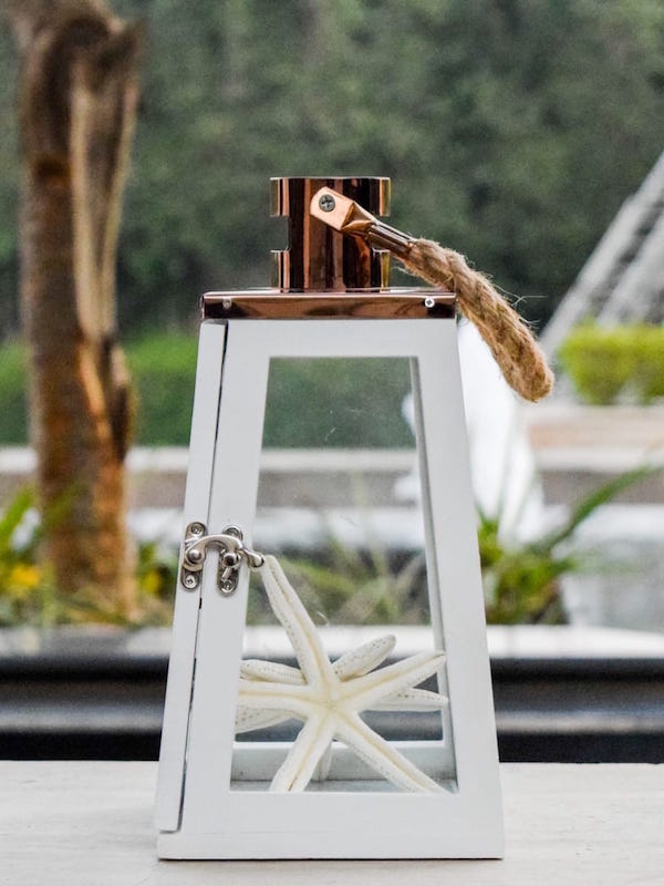 Arwen White and Rose Gold Wooden Lantern (Small)