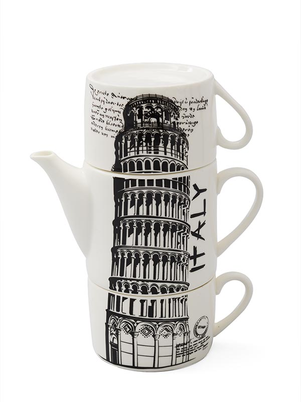 Leaning Tower of Pisa Teapot and Mug's Set