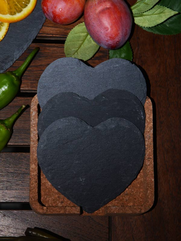 Morticia Slate Heart Coasters (Set of 4)