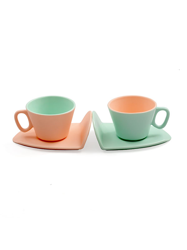 Arlina Pink and Turquoise Pastel Cup Set (Set of 2)