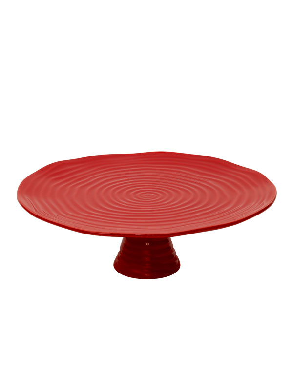 SCARLET RED RAISED PLATTER