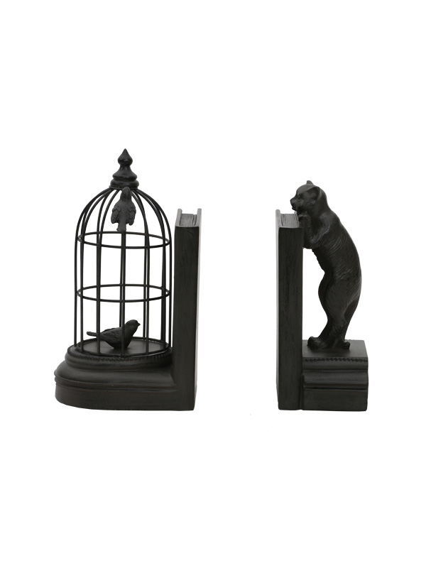 Caged Bird and Peeping Bear Bookends
