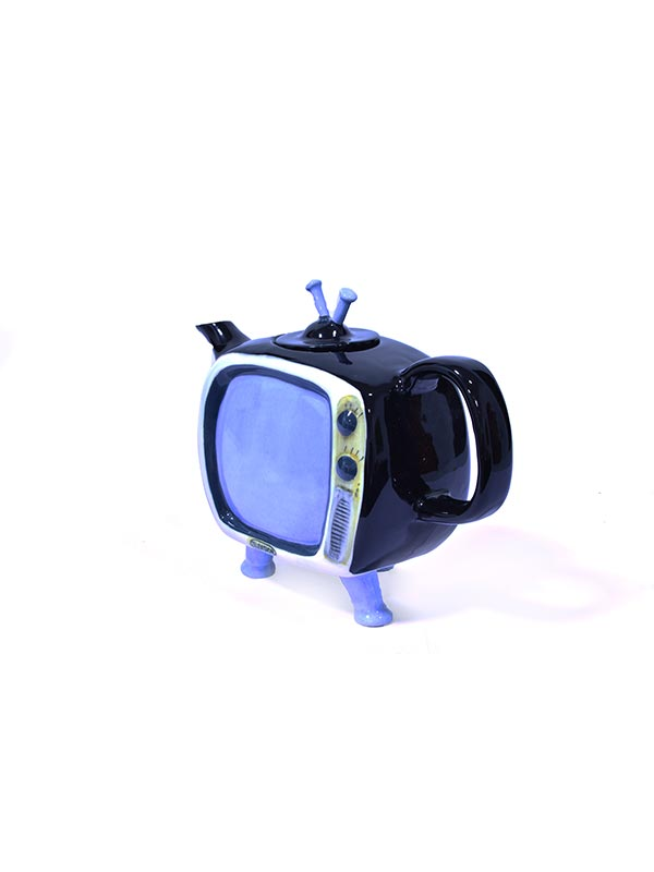 Black TV Teapot
