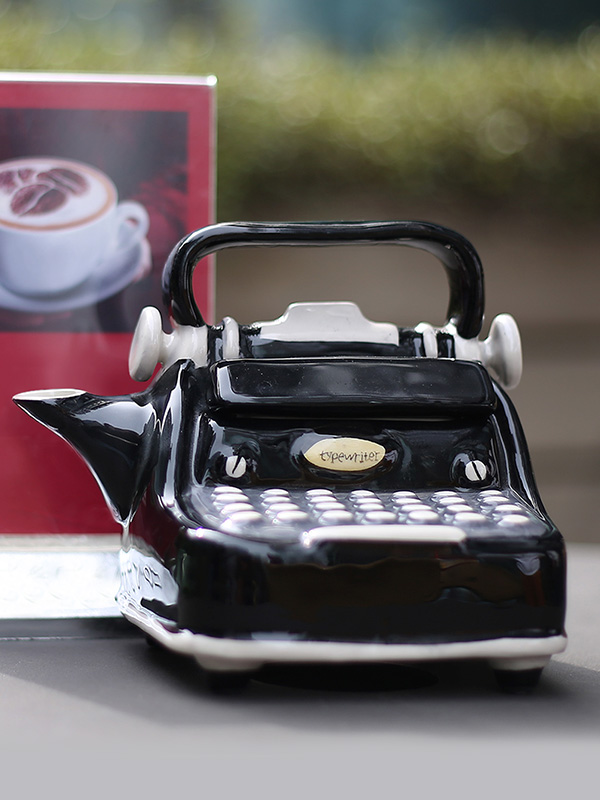 Black Typewriter Teapot