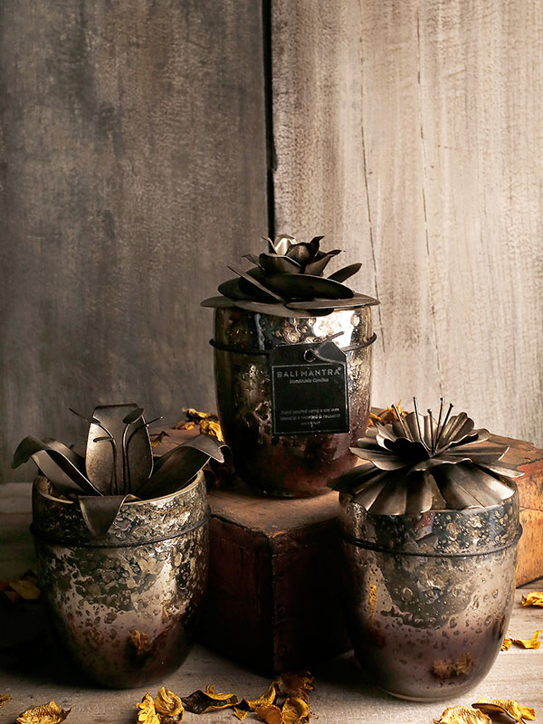 Waterlily Glass Candle Jar
