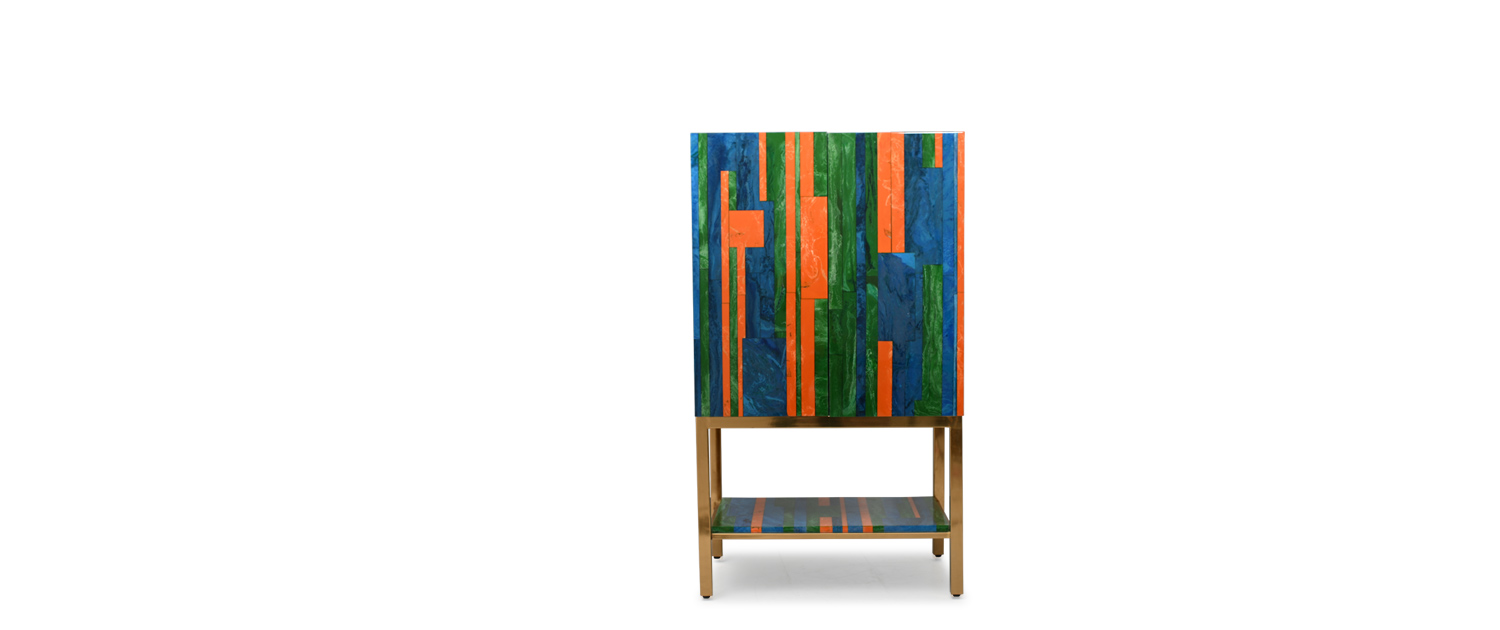 Colorblock Bar Cabinet